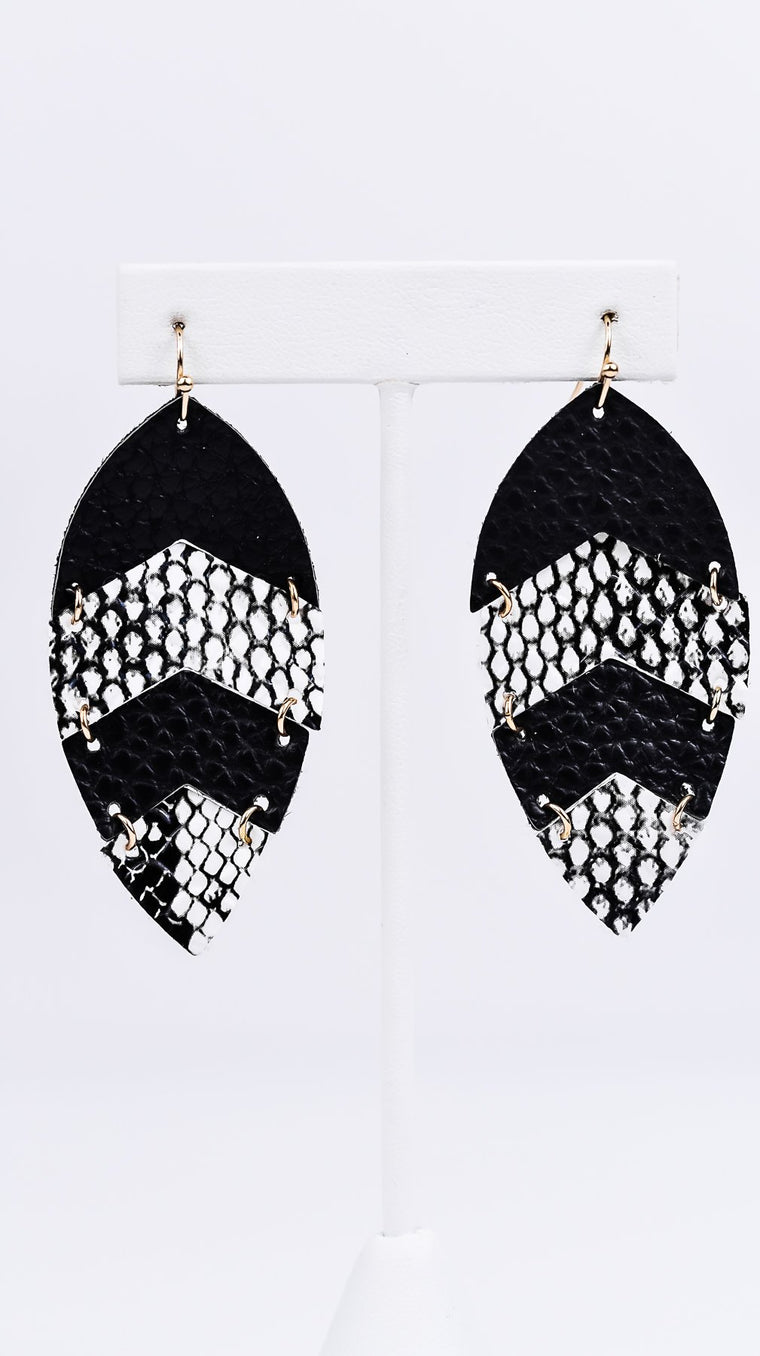 Black/White Chevron Feather Leather Earrings - EAR1667BW