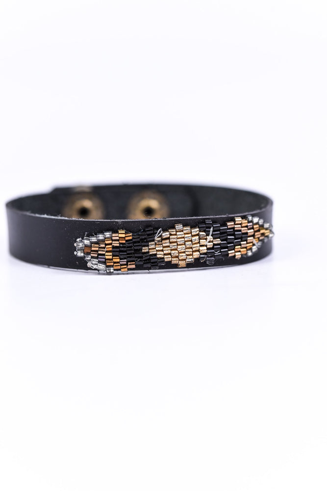 Multi Color/Black Aztec Snap Closure Bracelet - BRC1694BK