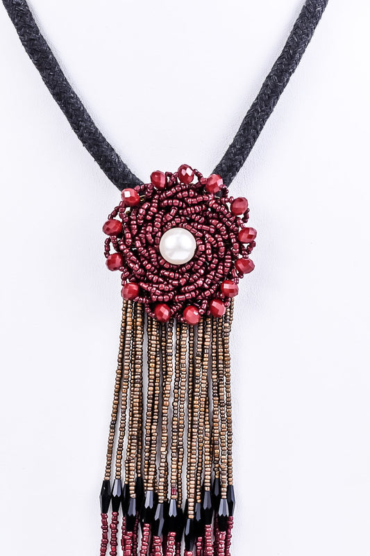 Burgundy/Brown Seed Bead Tassel On Thick Fabric Braided Cord Necklace - NEK2033BU