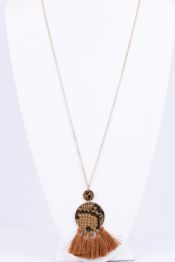 Gold/Brown Snake Print Circle Necklace - NEK2109BR