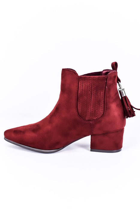 Trust In Your Path Burgundy Suede Booties - SHO1316BU