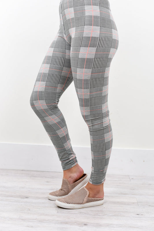 Black/White Houndstooth Printed Leggings (Sizes 4-12) - LEG2099BW