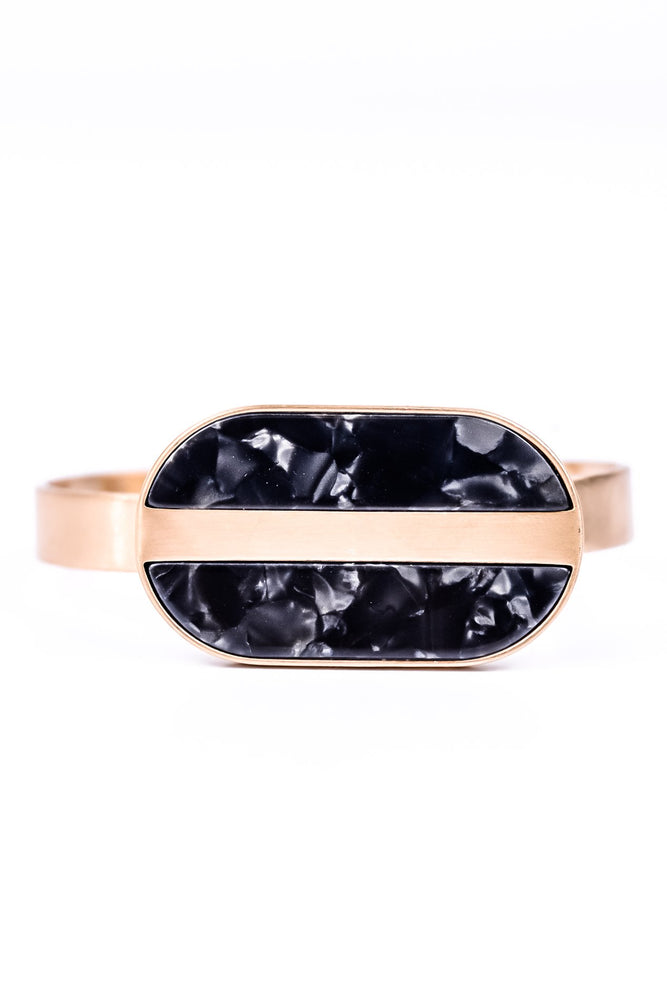 Black Marble Stone/Gold Adjustable Cuff Bracelet - BRC1723BK