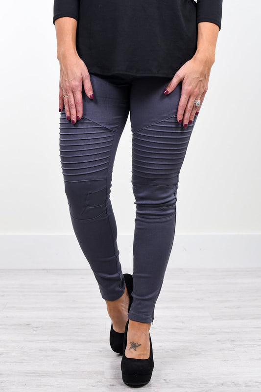 Under The Impression Charcoal Gray Moto Jeggings - JEG1030CG