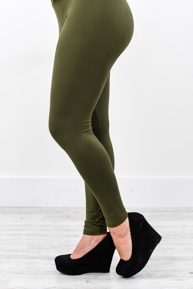 Olive Solid Wide Band Leggings (Sizes 4-12) - LEG2120OL