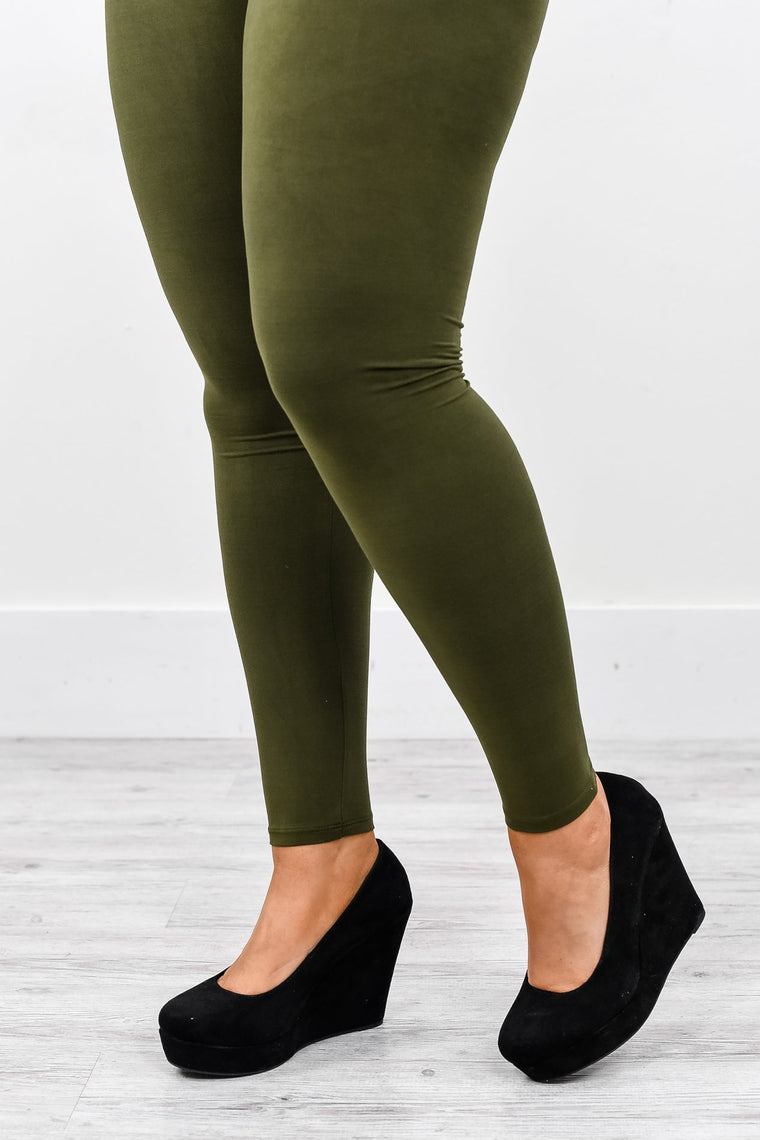 Olive Solid Wide Band Leggings (Sizes 12-18) - LEG2121OL