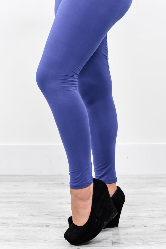 Royal Blue Solid Wide Band Leggings (Sizes 4-12) - LEG2118RB