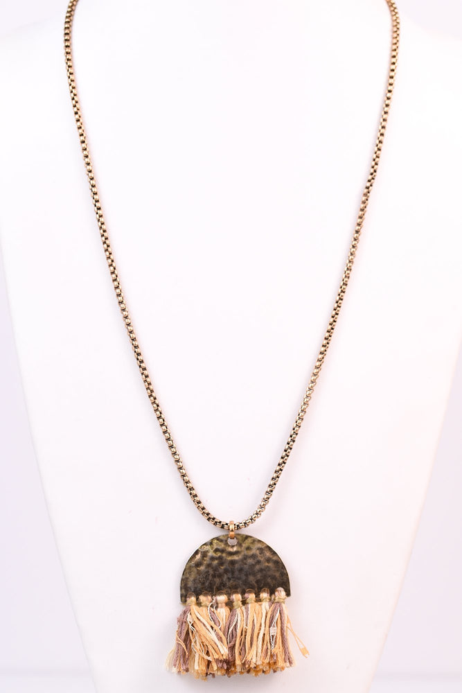 Gold Half Circle Fringe Tassel Necklace - NEK2165GO