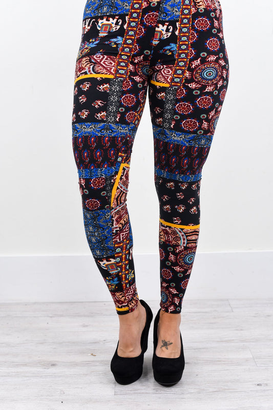 Multi Color Elephant/Multi Pattern Printed Leggings (Sizes 4-12) - LEG2150MU