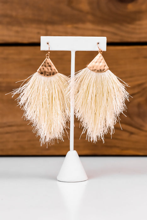 Ivory/Gold Hammered Fringe Tassel Earrings - EAR1801IV