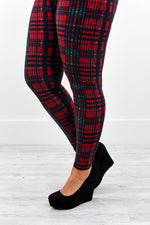 Red/Black Plaid Printed Leggings (Sizes 20-26) - LEG2209RD
