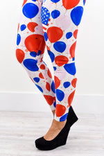 White/Red/Blue Balloon Printed Leggings (Sizes 20-26) - LEG2196WH
