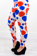 White/Red/Blue Balloon Printed Leggings (Sizes 4-12) - LEG2164WH