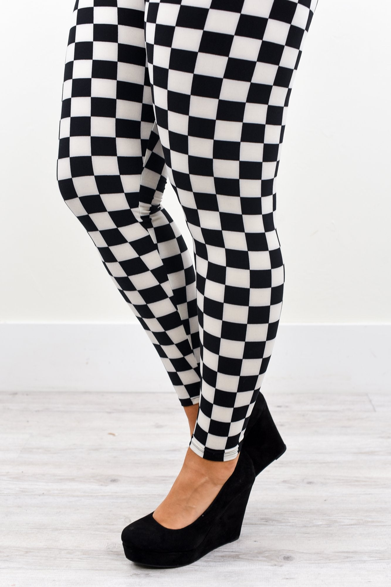 a2af6dc5e9a68 Black/White Checkered Printed Leggings (Sizes 20-26) - LEG2198BW – Tee for  the Soul
