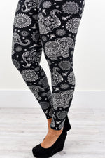 Black/White Elephant Printed Leggings (Sizes 20-26) - LEG2202BW