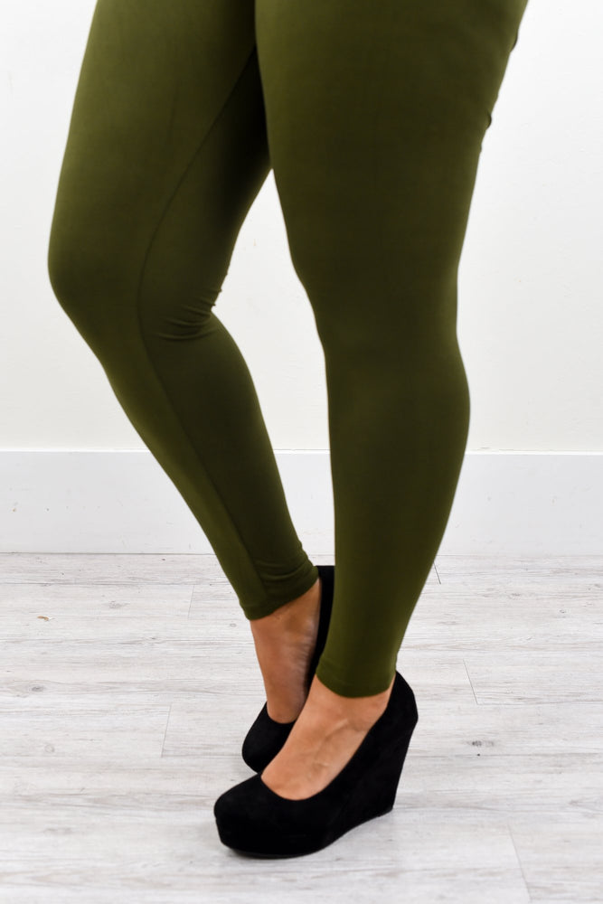 Olive Solid Wide Band Leggings (Sizes 20-26) - LEG2140OL