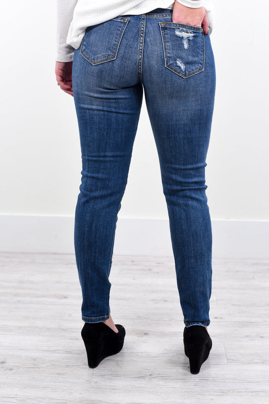 From The Ground Up Medium Denim Distressed Jeans - K251DN