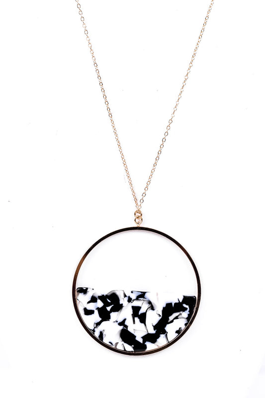 Gold/Black/White Swirl Layered Acrylic Circle Necklace - NEK2208BW