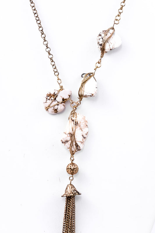 Gold/White Stone Tassel Necklace - NEK2202WH