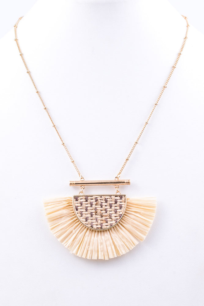 Beige/Gold Fan Fringe Necklace - NEK2213BG