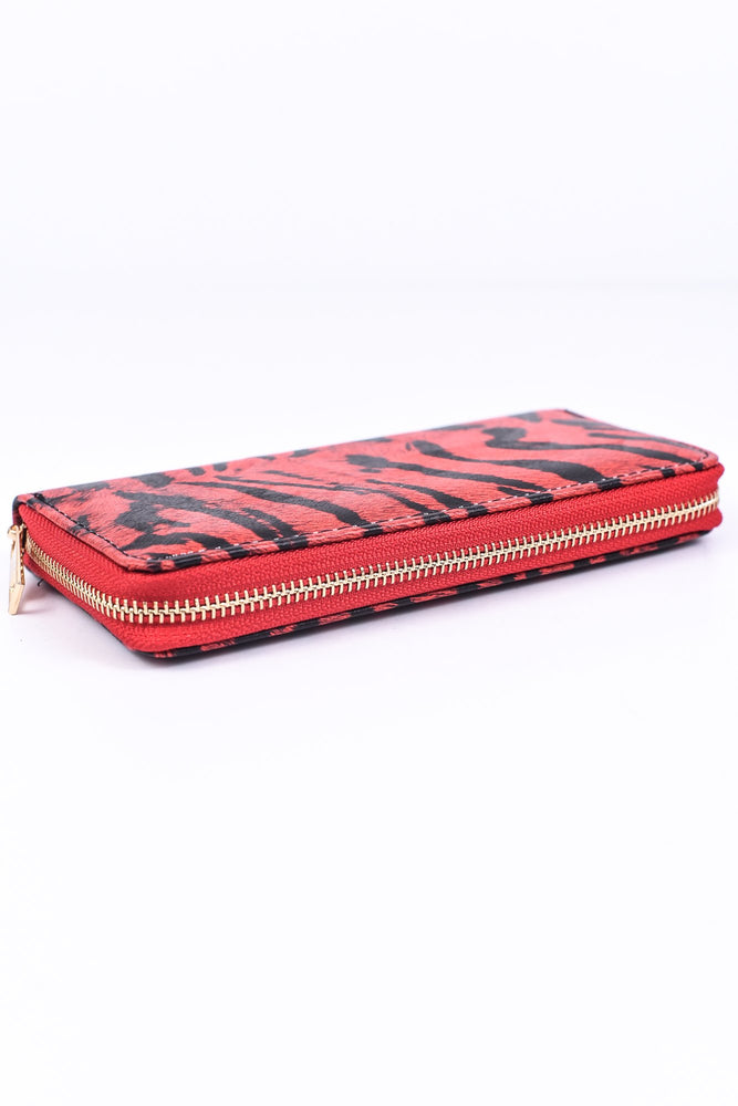 Red/Black Tiger Striped Wallet - WAL1021RD