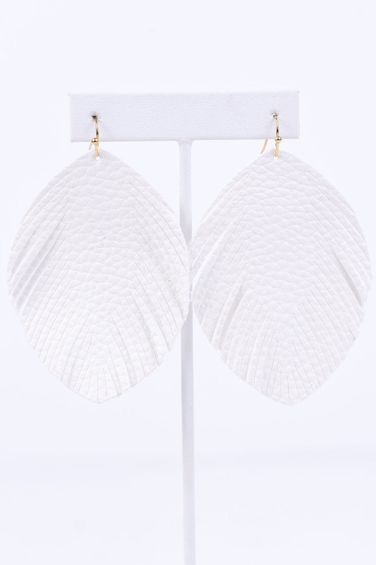 White Leather Teardrop Fringe Earrings - EAR1900WH