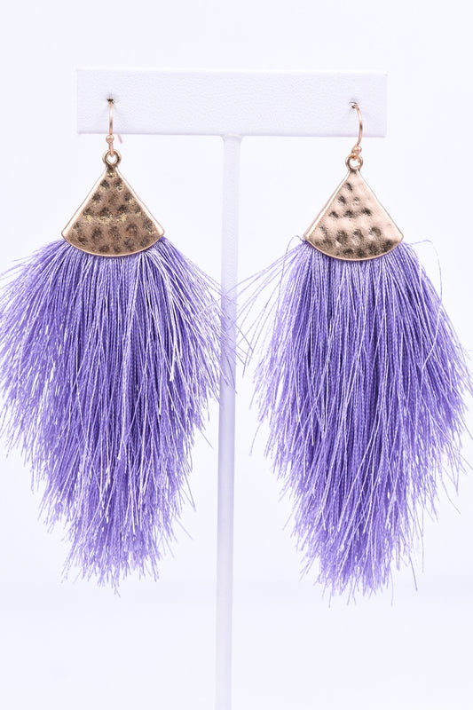 Lavender/Gold Hammered Fringe Tassel Earrings - EAR1873LV