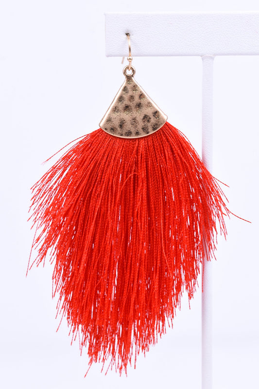 Red/Gold Hammered Fringe Tassel Earrings - EAR1874RD
