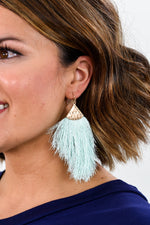 Mint/Gold Hammered Fringe Tassel Earrings - EAR1872MT
