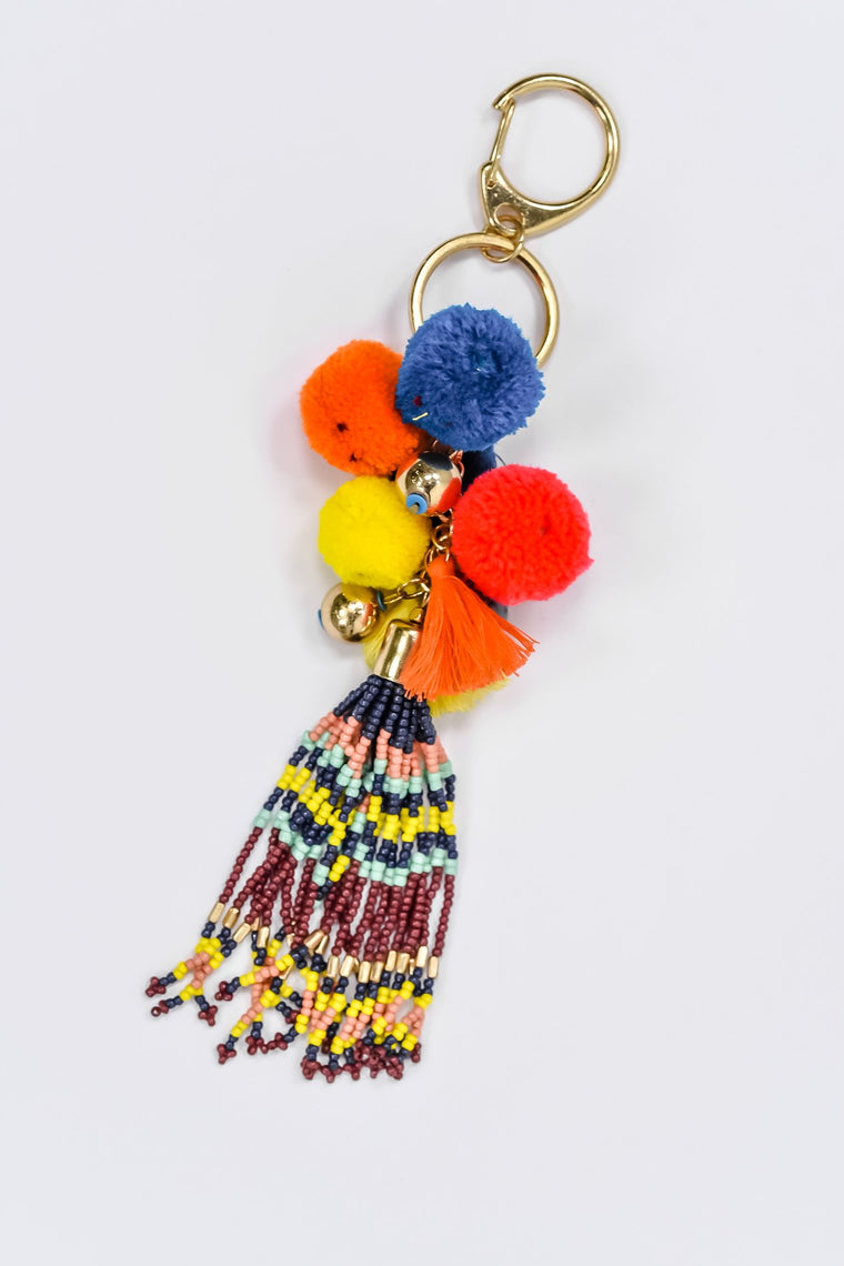 Multi-Color Beaded/Pom-Pom/Fringe Tassel Keychain - KEY1066MU