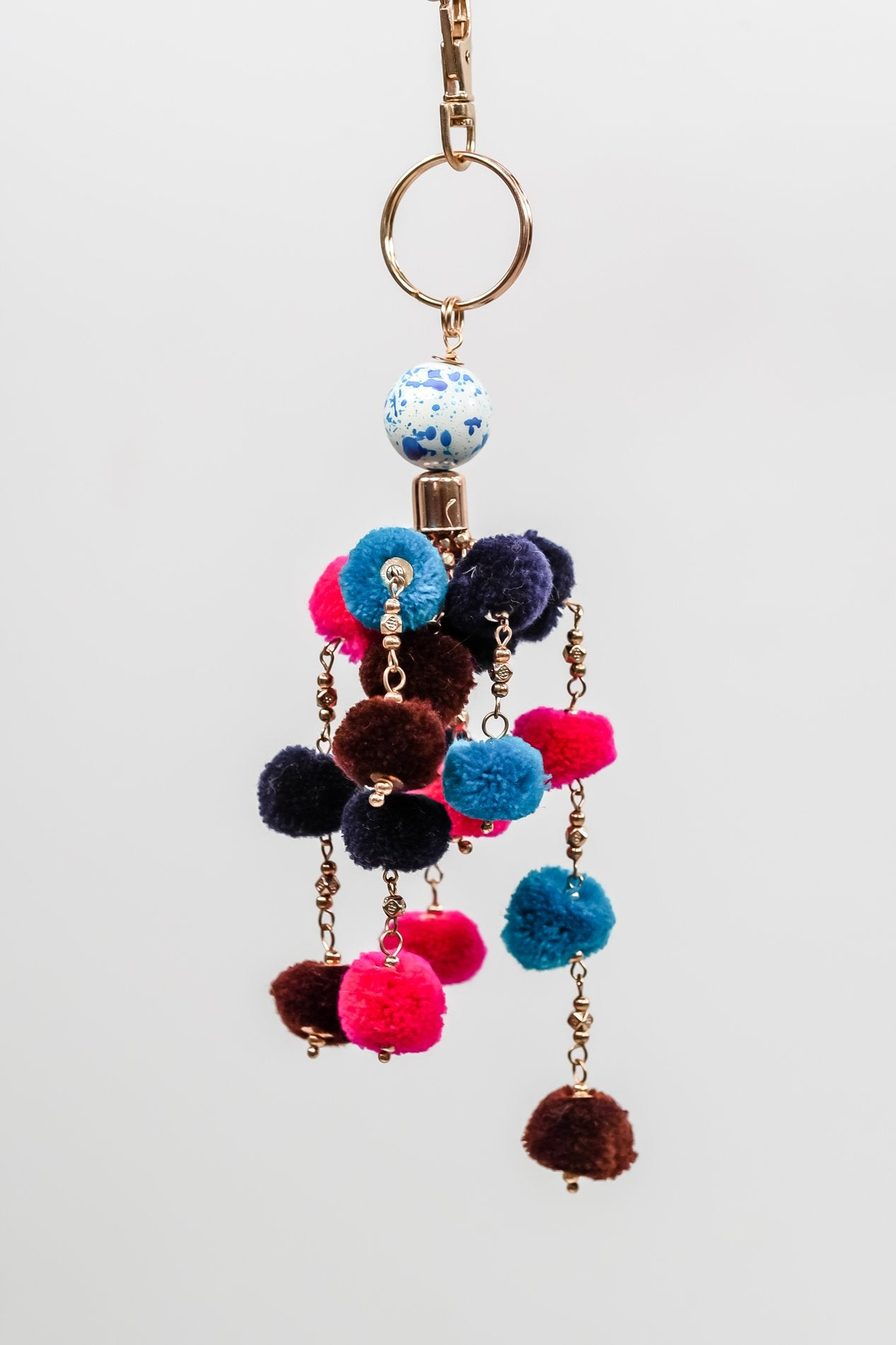 Multi-Color Pom-Pom Keychain - KEY1065MU