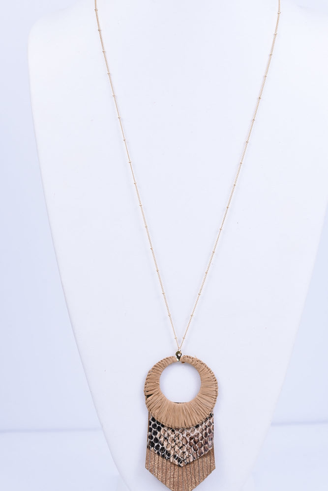Brown Woven Cutout Circle With Snakeskin Tassel Necklace - NEK2252BR
