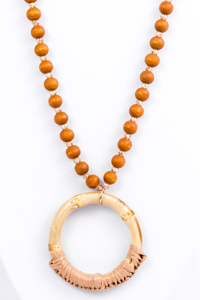 Brown/Natural Beaded Bamboo Circle Necklace - NEK2278BR