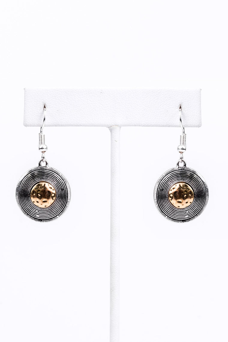 Silver Textured/Gold Hammered Center Earrings - EAR2031SI