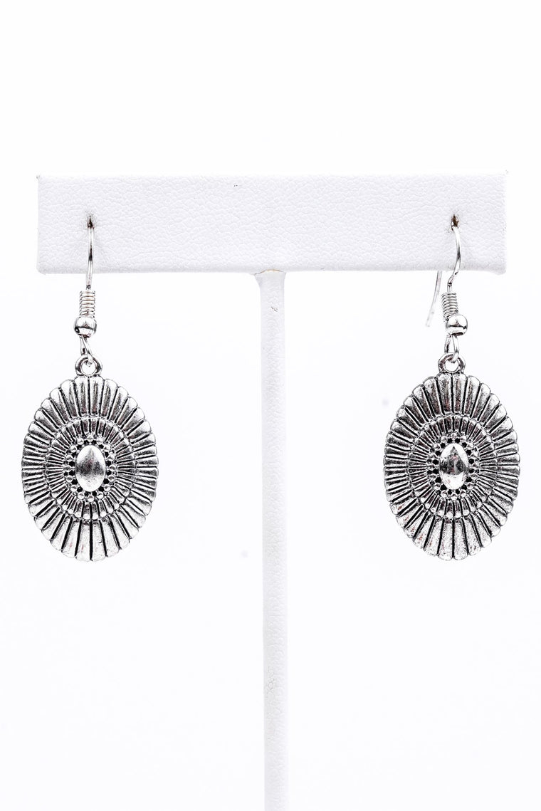 Silver Concho Earrings - EAR2034SI