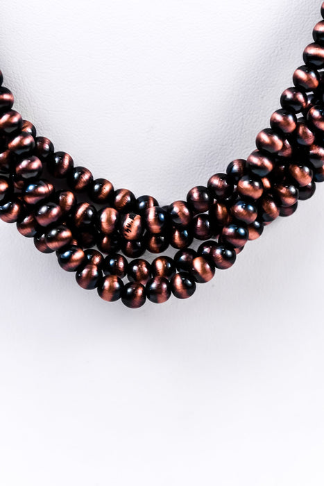 Copper Multi-Strand/Layered On Brown Suede Cord Necklace - NEK2301CP