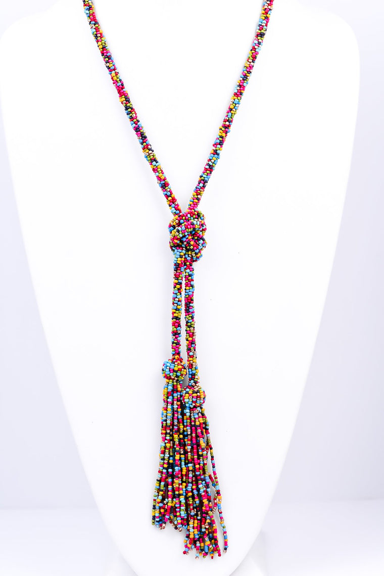 Pink/Multi-Color Seed Bead Knotted Double Tassel Necklace - NEK2304PK