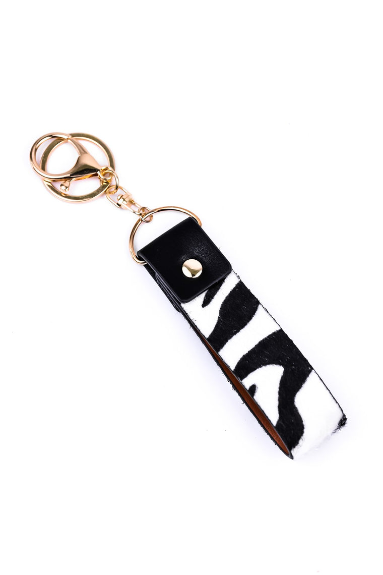 Black/White Zebra Leather Keychain - KEY1068ZE