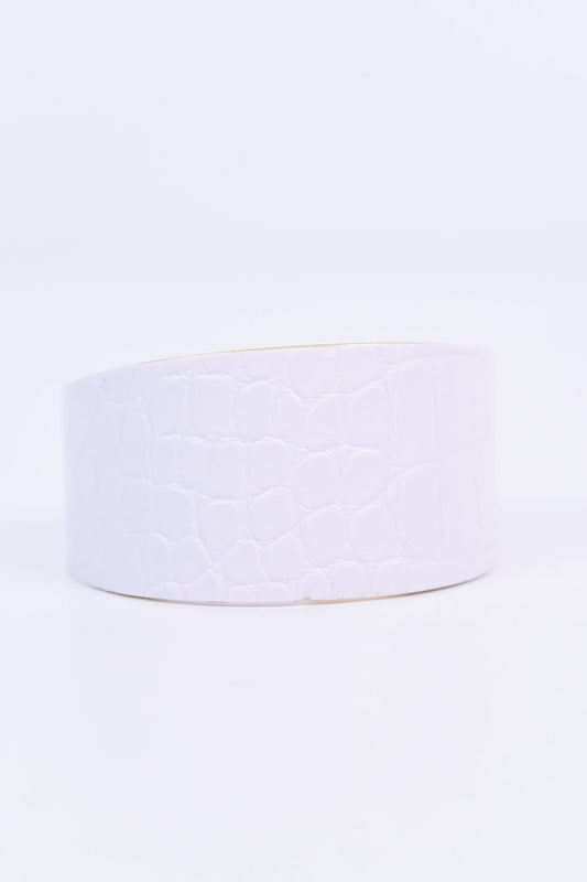 White Snakeskin Leather Cuff Adjustable Bracelet - BRC1941WH