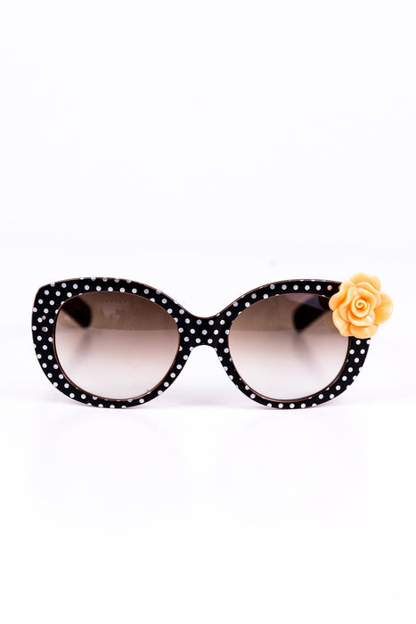 Black/White Polka Dot Peach Rose Sunglasses - SGL131BK - FREE hard case