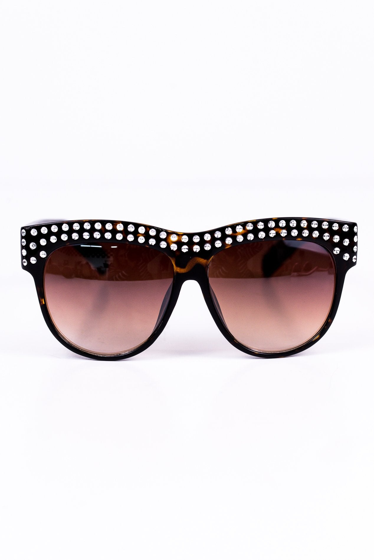 Brown Tortoise Rhinestone Bling Sunglasses - SGL135BR - FREE hard case