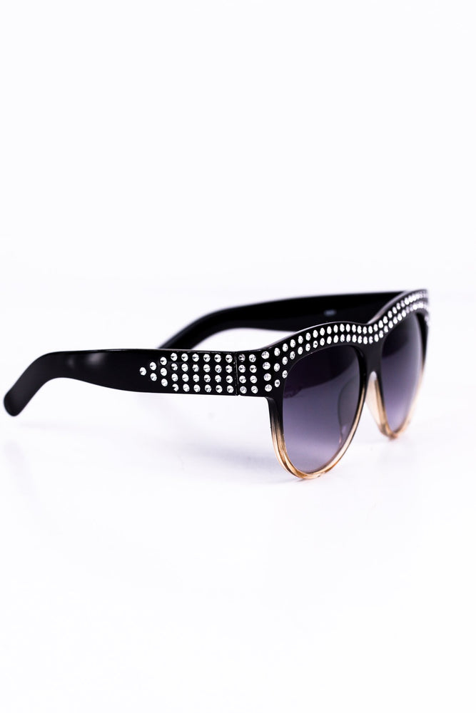 Black/Clear Brown Rhinestone Bling Sunglasses - SGL137BK - FREE hard case