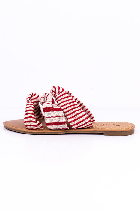 Stripe This Way Red/Beige Striped Sandals - SHO1409RD