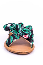 On A Different Path Black/Green Tropical Knotted Sandals - SHO1417BK