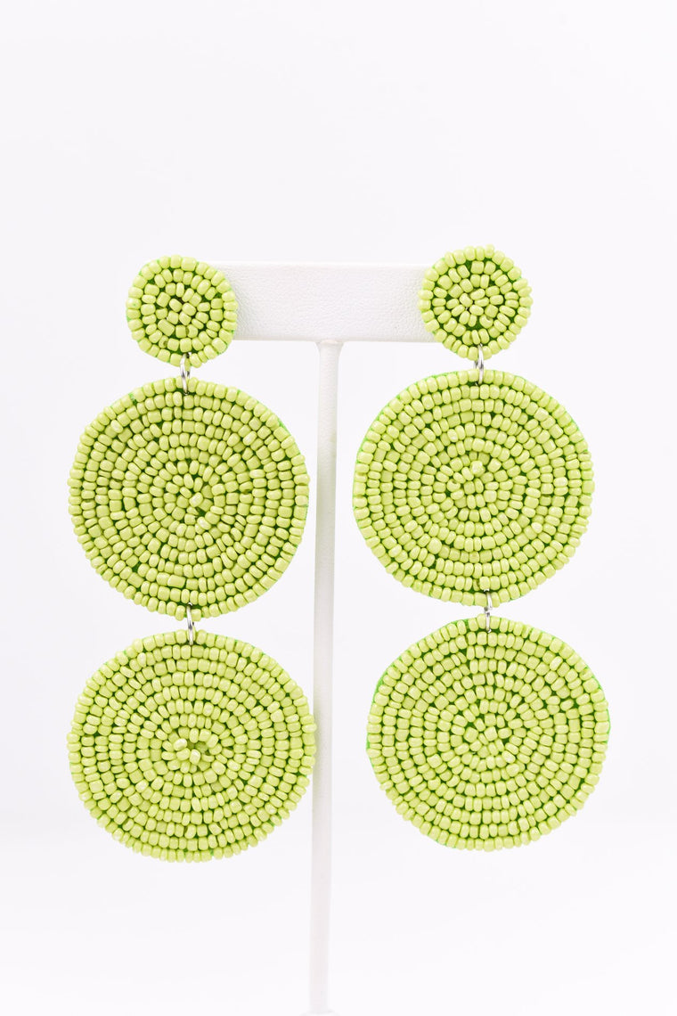 Lime Green 3-Tier Seed Bead Earrings - EAR2107LGN