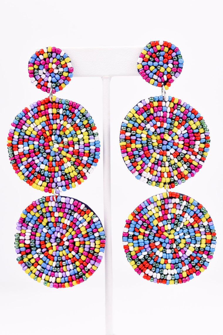 Multi-Color 3-Tier Seed Bead Earrings - EAR2108MU