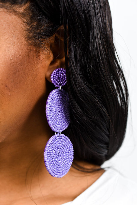 Purple 3-Tier Seed Bead Earrings - EAR2116PU