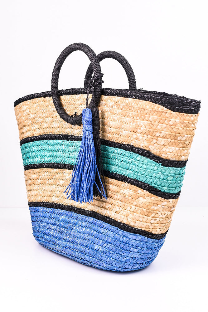 Beach Days Blue Straw Beach Bag - BAG1257BL