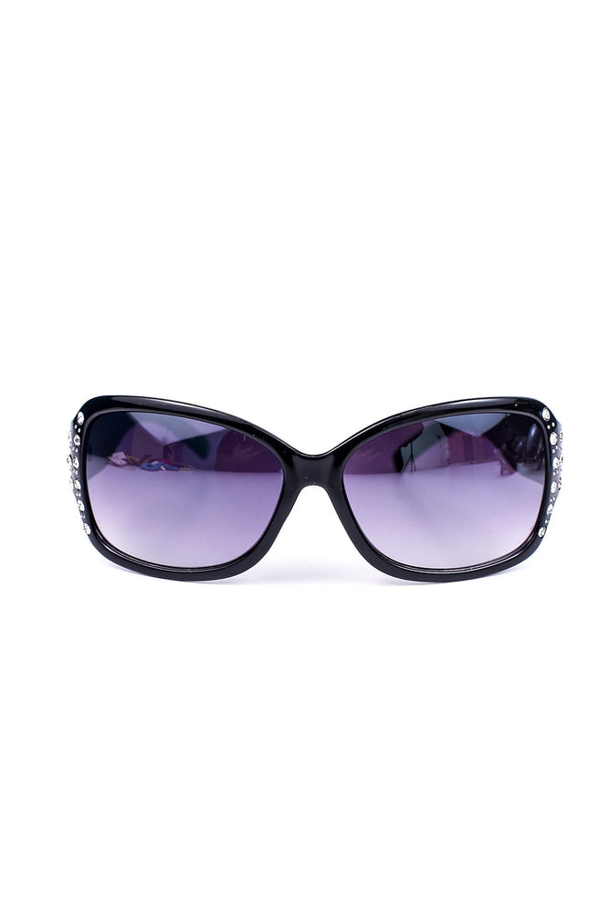 Black Rhinestone Frame/Purple Lens Sunglasses - SGL180BK - FREE hard case