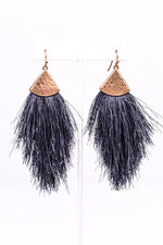 Dark Gray/Gold Hammered Fringe Tassel Earrings - EAR2147DGR